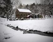 Winter Photography, Wayside Inn Grist Mill, Sudbury, MA, New England Decor, Snowy Scene, Classic New England