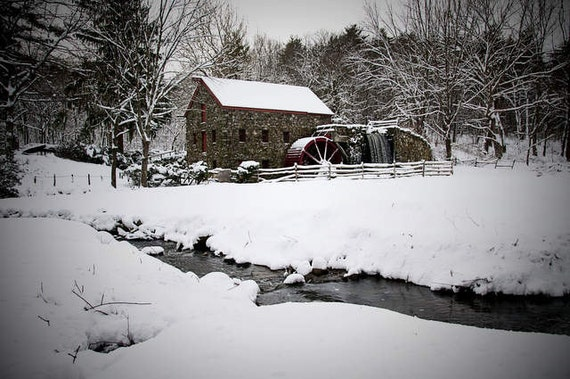 New England Winter Scene 8 x 10 Photograph Wayside Inn Grist Mill Sudbury, MA