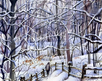 Winter Trail, snowy watercolor painting print.
