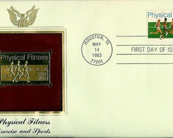 1983 Physical Fitness First Day Cover - PCS 22K Gold Foil Replica