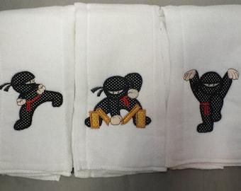 Ninja burp cloths baby boy burp cloth baby boy ninja karate baby boy burp cloth personalized burp cloth