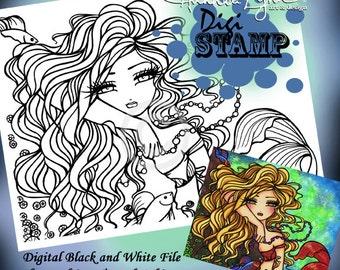 PRINTABLE Digi Stamp Maxine Mermaid Coloring Page Fun Fantasy Art Hannah Lynn