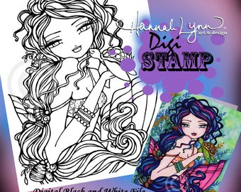 PRINTABLE Digi Stamp Sherriella Mermaid Coloring Page Fun Fantasy Art Hannah Lynn