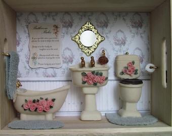Bathroom Roombox Miniature Victorian Rose Bathroom