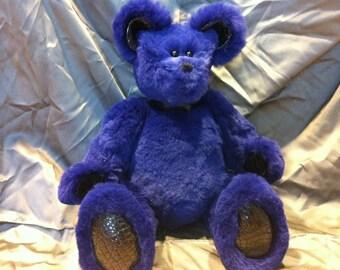 GENUINE RABBIT Fur ALLIGATOR Purple Teddy Bear Hand Sewn
