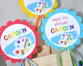 Art Party Centerpice Sticks - Painting Party Centerpiece Decorations - Artist Birthday Party Decorations - Party Centerpieces - Set of 3
