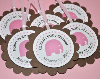 Elephant Baby Shower Favor Tags, Thank You Tags, Girls Baby Shower Party Decorations, Pink and Brown Baby Shower - Set of 12 Tags