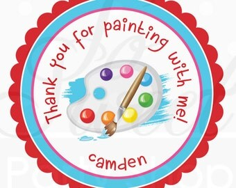Artist Birthday Favor Sticker Labels - Painting Party Personalized Birthday Stickers - Art Birthday Party Decorations - Set of 24