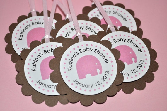 Baby Shower Party Favors Elephant ~ Elephant baby shower favor tags thank you tags girls baby shower