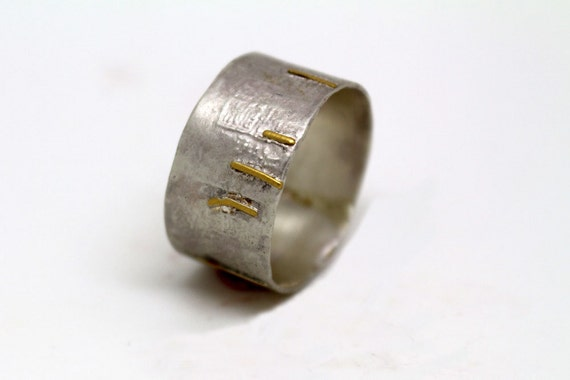 22k gold and 925 silver wide modern wedding band