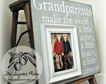 Grandparents Picture Frame, Mimi, Papa, Grandma, Grandpa, Grandmother, Grandfather, Nana, Cousins 16x16 Grandparents Make The World