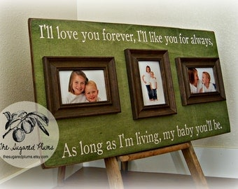Picture Frame Mothers Day Personalized Mothers Day Gift 16x30 I'll LOVE YOU FOREVER Baptism Christening First Birthday Gift Godparents
