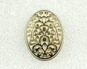 Wholesale - Antiqued Lemon Yellow Floral Filigree Pattern Ellipse Buttons.Reminiscence Style. 1.10 inch. 50 pcs