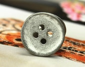 Metal Buttons - Curved Edge Metal Buttons , Gunmetal Gray Color , 4 Holes , 0.71 inch , 10 pcs