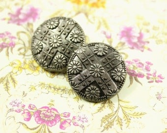Metal Buttons - Flower Lattice Metal Buttons , Nickel Silver Color , Shank , 0.79 inch , 10 pcs