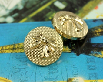 Metal Buttons - Bowknot Metal Buttons , Gold Color , Shank , 0.91 inch , 10 pcs