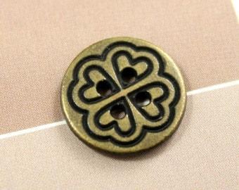 Metal Buttons - Hearts Flower Metal Buttons , Antique Brass Color , 4 Holes , 0.55 inch , 10 pcs
