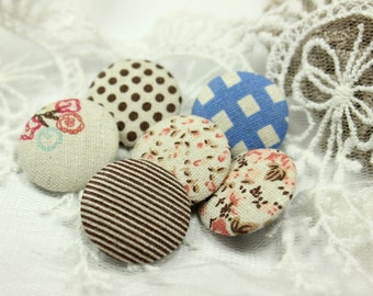 No Idea Mix and Match Shabby Chic Style Fabric Buttons,1 inch.  (6 in a set)