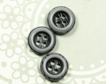 Lovely Plastic Buttons - Shades of Gray Color Recessed Center Plastic Buttons. 0.47 inch. 10 in a set