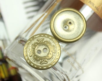 Metal Buttons - Flower Engraving Metal Buttons , Brass Patina Color , 2 Holes , 0.59 inch , 10 pcs