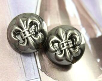 Metal Buttons - Fleur-De-Lis Metal Buttons , Shiny Gunmetal , Shank , 0.71 inch , 10 pcs