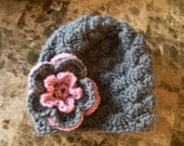 Baby girl beanie, charcoal grey with a pink flower, very warm and thick