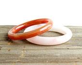 SALE - Vintage Glass Bracelets -  Retro Lot of 2 Bangle Costume Jewelry Accessories / Summer Pink Rose & Burnt Orange Set