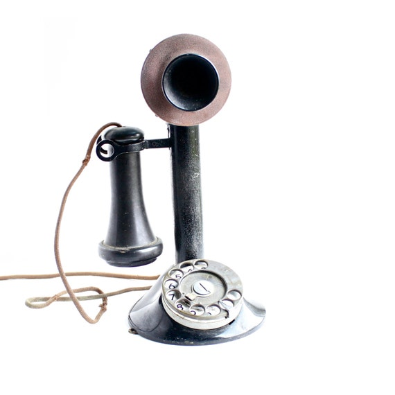Antique Candlestick Phone Black Metal Early By Maejeanvintage