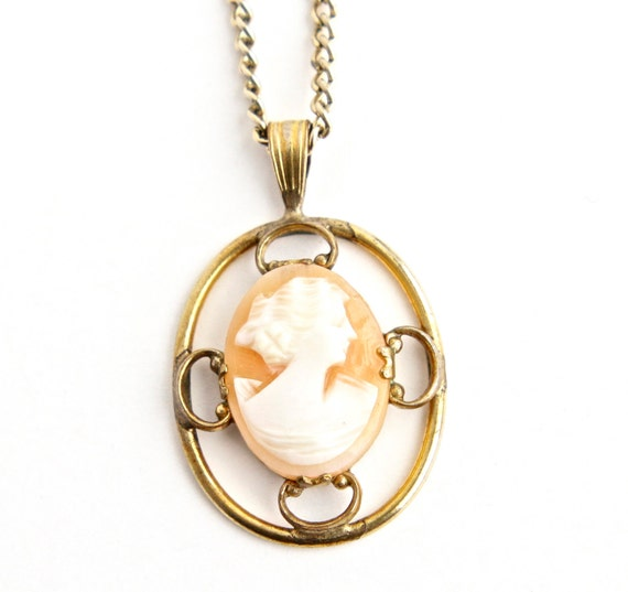SALE - Vintage Carved Shell Cameo Necklace -  Gold Tone Victorian Revival Costume Jewelry /  White on Salmon Bust