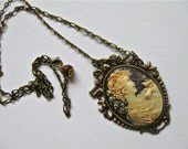 Handcrafted Cameo with Brown Necklace (N449)