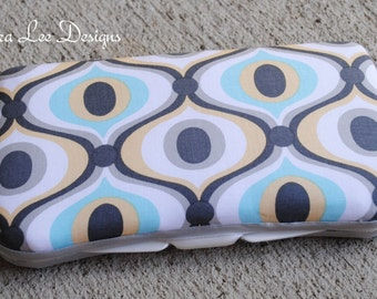 Feeling Groovy in Light Blue and Gray Boutique Style Travel Baby Wipe Case Gender Neutral