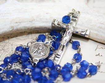 Rosary, Crucifix Necklace with Royal Blue Crystal Beads and Silver - K