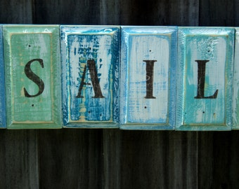 COME SAIL AWAY Beach-y Tropical Wooden Sign, Rustic Wall Hanging, Nautical Decor