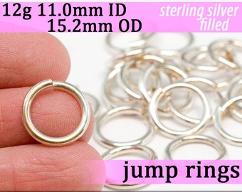 12g 11.0mm ID 15.2mm OD silver filled open jump rings -- 12g11.00 jumprings links silverfilled