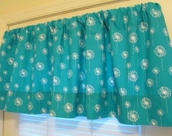 NEW Window CURTAIN Valance Premier Prints Turquoise Dandelion