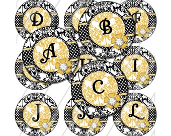 INSTANT DOWNLOAD-1 inch circle Damask Alphabet Bottlecap Images