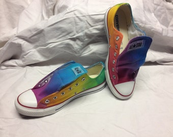 Rainbow Converse Tie Dye Low Top Shoes As Seen on Talk Stoop