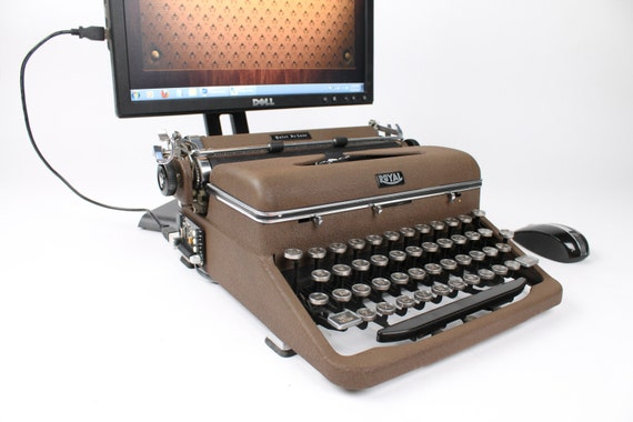 USB Typewriter Computer Keyboard -- Royal Aristocrat from the 1940s -- Rare Mottled Brown Finish