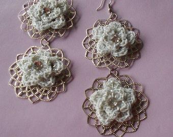 Crochet Earrings-Silver Crochet Earrings-Silver Crochet Dangle Earrings-Crochet Earrings-Dangle Earrings