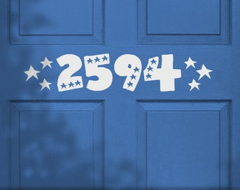 Front Door Decor, Custom House Numbers Wall Decals for Door, Porch, Inside or Out, in Americana Patriotic Stars Style