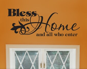 Bless This Home Vinyl Wall Decal: Welcoming Entry Way Decal Quote or Door Decal, Front Door Decoration (0177b2v)