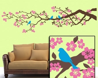 Tree Wall Decal, Woodland Nursery Decal Wall Decor, Cherry Tree Vinyl Wall Decal, 7Ft Cherry Blossom Branch with Birds (001610a2v)