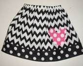 Sale 10% off coupon is buddyboy2   Minnie Mouse Chevron twirl skirt  with applique  (available in sizes 1, 2, 3 or 4 )