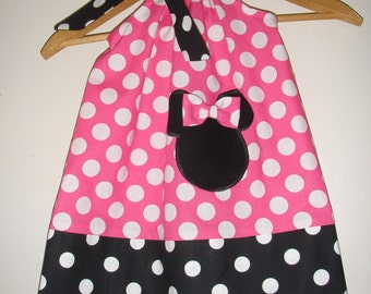 Minnie pink polka dots pillowcase dress with applique  sizes 3, 6, 9,12,18 months ,2t,3t,4t,