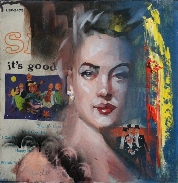 "Sing, It's Good, by Kenney Mencher oil and spray paint  on acrylic resin coated album cover 12""x12"""