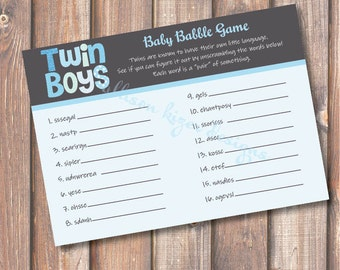 Printable Baby Shower Game - Funky Letters Twin Boys Baby Babble Word Scramble Blue and Grey Blue and Gray - INSTANT DOWLOAD