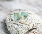 Earring Studs - Round Mint Gold Posts -Tiny earrings