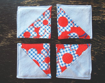 Housewarming Gift Patchwork Rustic Fabric Coasters - Set of 4 - Shabby Chic floral red and blue chambray home decor gift under 20 for her