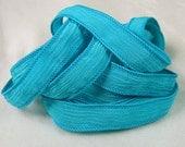 Turquoise Wrist Wrap, Silk Crinkle Ribbon - Crinkle Silk Jewelry Bracelet Fairy Ribbon - Quintessence - Turquoise Crinkle