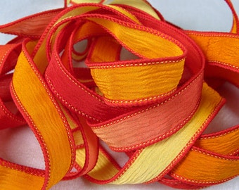 Hand Dyed Silk Ribbons - Crinkle Hand Painted Silk Jewelry Bracelet - Fairy Ribbons - Quintessence - Chili Pepper